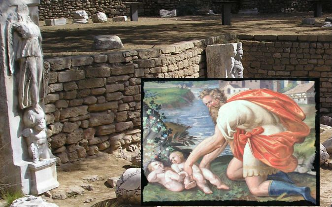 Ancient ruins in Ashkelon National Park, Israel, and a painting depicting the babies of Roman legend, Romulus and Remus. (Wikimedia Commons)