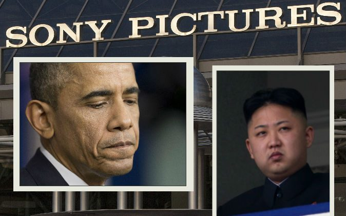 Left: President Barack Obama pauses during a news conference in Washington, Dec. 19, 2014. (AP Photo/Pablo Martinez Monsivais) Right: North Korean leader Kim Jong-Un (R) attending a military parade in Pyongyang on April 15, 2012. (AFP/Getty Images) Background: An exterior view of the Sony Pictures Plaza building is seen in Culver City, Calif., Friday, Dec. 19, 2014. (AP Photo/Damian Dovarganes)