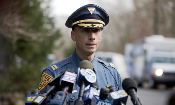 New Jersey State Police Capt. Stephen Jones during a news conference in Tabernacle, N.J., on Nov. 20, 2014. New Jersey's statewide police union issued an email alert warning officers to take extra caution after two NYPD officers were murdered. (AP Photo/Matt Rourke)