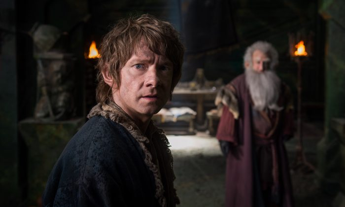 """In this image released by Warner Bros. Pictures, Martin Freeman appears in a scene from the film, """"The Hobbit: The Battle of the Five Armies."""" (AP Photo/Warner Bros. Pictures, Mark Pokorny)"""