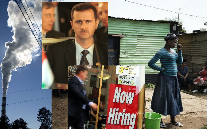 """Left: A plume of exhaust extends from a Pennsylvania coal-fired power plant. (Jeff Swensen/Getty Images) Top center: Syrian President Bashar al-Assad. (Courtney Kealy/Getty Images) Bottom center: A """"now hiring"""" sign in New York City. (Spencer Platt/Getty Images) Right: People idle in an impoverished informal camp in South Africa. (Marco Longari/AFP/Getty Images)"""