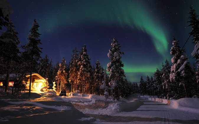 Northern lights in Lapland via Shutterstock*