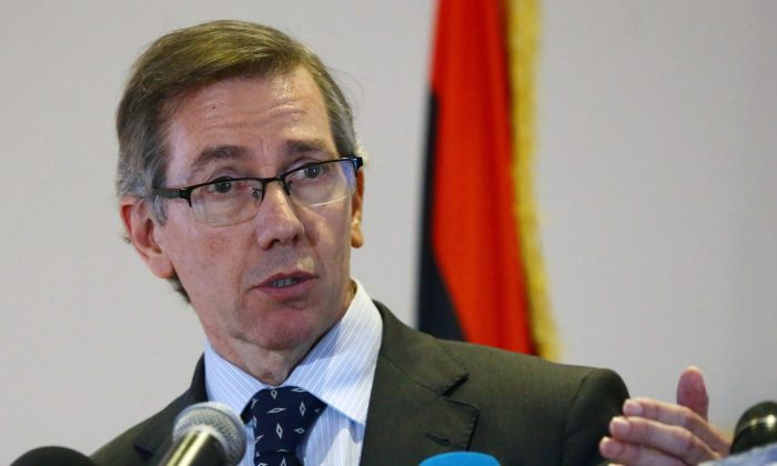 UN special envoy to Libya, Bernardino Leon speaks during a press conference in the Libyan capital Tripoli on Oct. 28, 2014. Bernardino Leon expressed serious concern about violence in the country. (Mahmud Turkia/AFP/Getty Images)