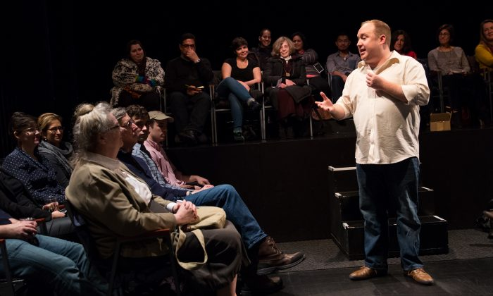 """Jonny Donahoe in a scene from """"Every Brilliant Thing"""" at the Barrow Street Theatre. (Matthew Murphy)"""