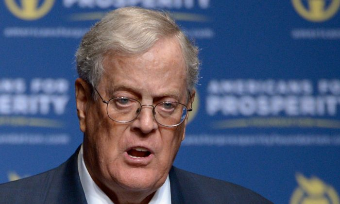 Americans for Prosperity Foundation Chairman David Koch speaks in Orlando, Fla., on Aug. 30, 2013. For as often as Democrats attack the conservative billionaires Charles and David Koch for their heavy spending on politics, it's actually the liberal-minded who shelled out the most cash on the just completed midterm elections. (AP Photo/Phelan M. Ebenhack)
