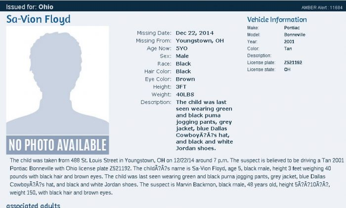 An AMBER Alert was issued for SaVion Floyd, 5-year-old boy, in Youngstown, Ohio, on Tuesday.
