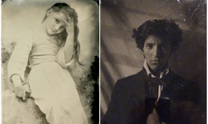 """Left: """"Petite Maraudeuse,"""" 1900, by William Adolphe Bouguereau. Tintype by Pollard & Santoli Masters Gallery. 5 inches by 7 inches. Right: A tintype portrait of Eric Alexander Santoli by Charles Edward Harrigan. (Courtesy of Eric Santoli)"""