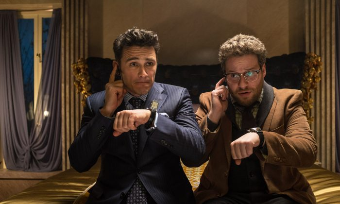 """This photo released by Sony-Columbia Pictures shows James Franco, left, as Dave and Seth Rogen as Aaron in a scene from Columbia Pictures' """"The Interview."""" (AP Photo/Sony - Columbia Pictures, Ed Araquel)"""