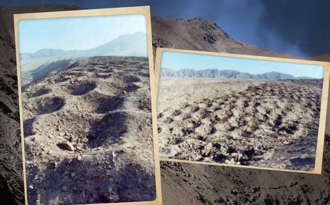 The mysterious holes of Pisco Valley, Peru. (Bruno7/Panramio, CC BY) Background: Pisco Valley, Peru. (Gaspar Abrilot/Wikimedia Commons)