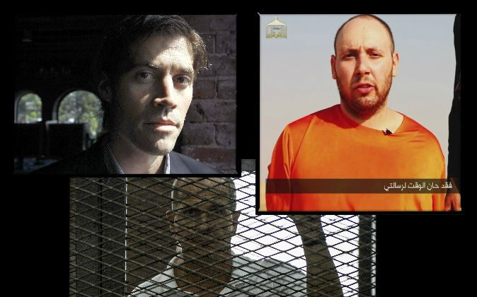 Left: American journalist James Foley, who was murdered by Islamic militants, poses for a photo in Boston on May 27, 2011. (AP Photo/Steven Senne, File) Right: American journalist Steven Sotloff, purportedly shown just before he was beheaded by Islamic State in September 2014. (AP Photo) Bottom: Al-Jazeera news channel's Australian journalist Peter Greste at the police institute near Cairo's Tora prison on June 23, 2014. (Khaled Desouki/AFP/Getty Images)