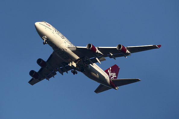 he suspected Virgin Atlantic Boeing 747 jumbo jet passenger plane hovers in the sky as it reportedly prepares for a non-standard landing at Gatwick airport in West Sussex on December 29, 2014 in London, England. Flight VS43 was traveling to Las Vegas and is returning to the airport due to a reported technical issue with one of the landing gears.  (Photo by Jordan Mansfield/Getty Images)