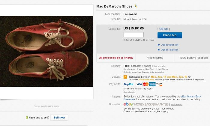 Mac DeMarco, the Montreal-born and Brooklyn-based singer, is selling his worn Vans sneakers for more than $10,000 on eBay. (screenshot)
