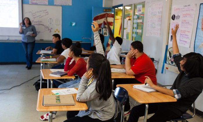 A classroom at the MESA Charter High School in Bushwick, Brooklyn, N.Y., on Oct. 28, 2014. With the New Year upon us, a host of changes in education is set to mark the lives of the city's students, parents, and educators alike. (Petr Svab/Epoch Times)