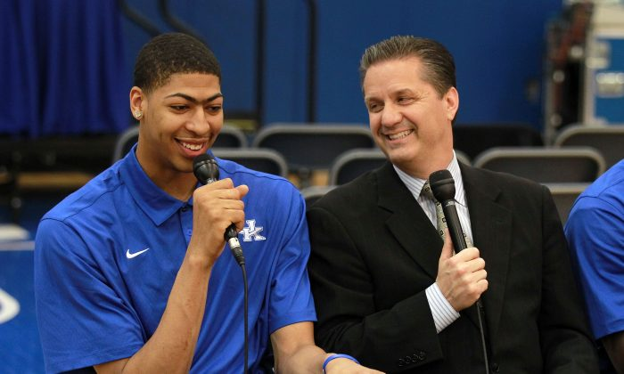 Anthony Davis (L), freshman and soon-to-be No. 1 overall pick in the NBA draft, and John Calipari, the head coach of the Kentucky Wildcats, during a news conference in Lexington, Ky., on April 17, 2012. (Andy Lyons/Getty Images)