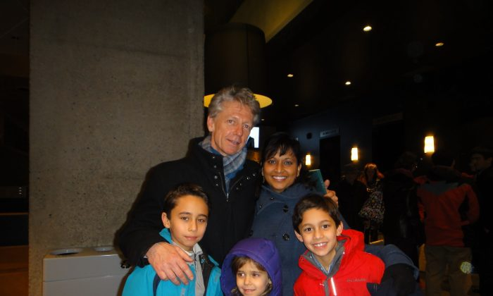 Dr. James Orbinski and his wife, Rolie Srivastava, an environmental sciences researcher, along with their three children attended Shen Yun Performing Arts at Centre In The Square in Kitchener on Dec. 29, 2014. (Epoch Times)