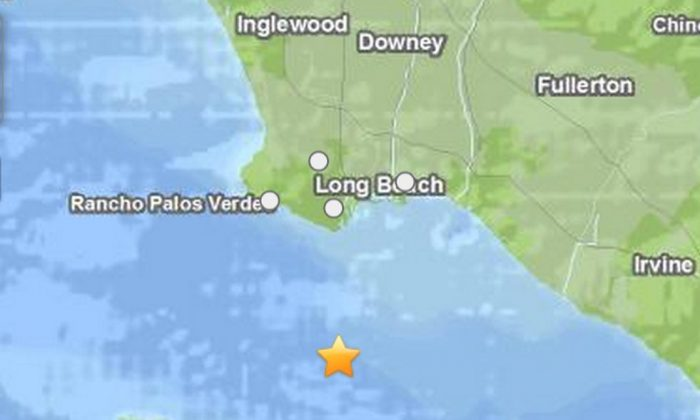 An earthquake struck south of Los Angeles on Tuesday afternoon. (USGS)