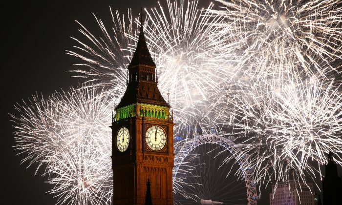 Fireworks light up the London skyline and Big Ben just after midnight on Jan. 1, 2015, in London, England.  (Peter Macdiarmid/Getty Images)