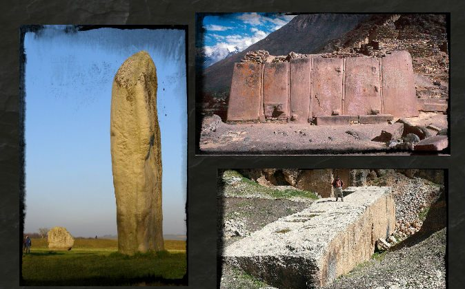 Left: A megalithic stone at Avebury Cove. (Jim Champion/Wikimedia Commons) Top right: Megaliths at Ollantaytambo in Peru. (Wolfgang Beyer/Wikimedia Commons) Bottom right:  A megalith at Baalbek in Lebanon. (Wikimedia Commons) Background: (Bikerboy82/iStock/Thinkstock)