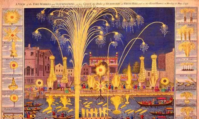 Fireworks on the River Thames, Monday, May 15, 1749.