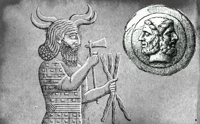 Left: A depiction of the Babylonian god Adad. Right: A depiction of the Roman god Janus, who looks both backward and forward. (Wikimedia Commons)