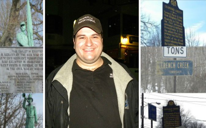 Investigator of the paranormal and radio host Jim Malliard, and scenes from Meadville, Penn. (Courtesy of Meadville Paranormal)
