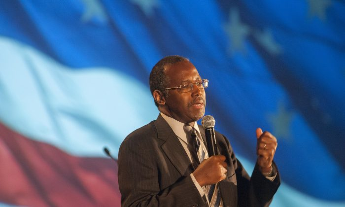 Dr. Ben Carson speaks as the keynote speaker at the Wake Up America gala Event September 5, 2014 at the Westin Kierland Resort in Scottsdale, Arizona. (Photo by Laura Segall/Getty Images)