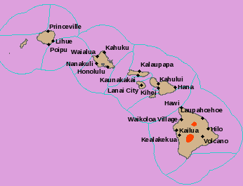 Parts of Hawaii--indicated in red--are under a Blizzard Warning. (National Weather Service)