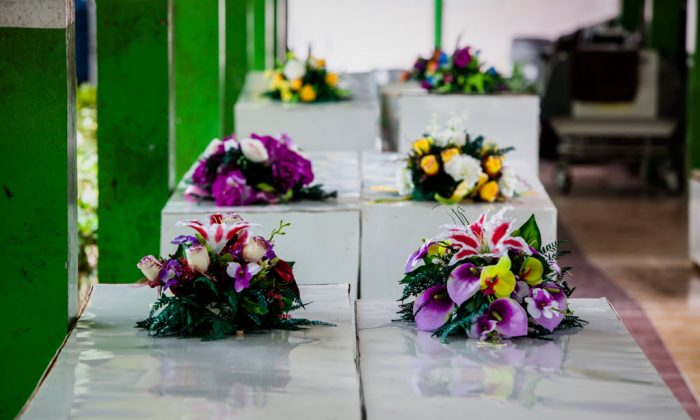 Coffins prepared for victims of the AirAsia Flight QZ8501 crash at Sultan Imanuddin hospital on January 3, 2015, in Pangkalan Bun, Central Kalimantan, Indonesia. (Oscar Siagian/Getty Images)