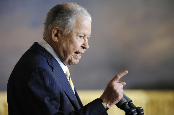 Former Sen.  Edward Brooke, a Massachusetts Republican who was the first African-American senator elected to the Senate since the US reconstruction, has died.  (Photo by Jonathan Ernst/Getty Images)