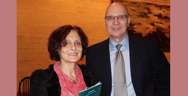 Suzanne Haroun and Phil Chrzanowski enjoy an evening at Shen Yun Performing Arts at Jones Hall for the Performing Arts, on Jan. 2, 2015. (Sarah Guo/Epoch Times)