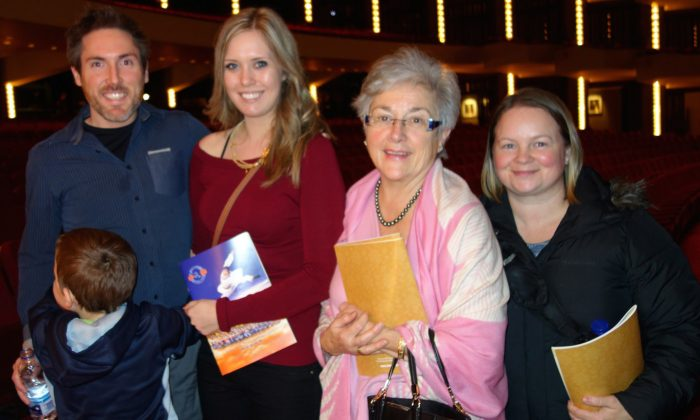 Inkeeper Robert Prior with his son, wife, mother, and sister at Shen Yun Performing Arts on the afternoon on January 4, 2015 at the National Arts Centre. (Grace Dai/Epoch Times)