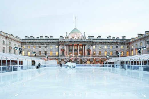 Somerset House ice rink in Strand, London via Shutterstock*