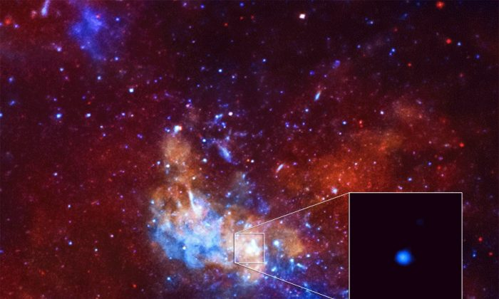 Astronomers have detected the largest X-ray flare ever from the supermassive black hole at the center of the Milky Way using NASA's Chandra X-ray Observatory. This event was 400 times brighter than the usual X-ray output from the black hole. (NASA/CXC/Northwestern Univ/D.Haggard et al.)
