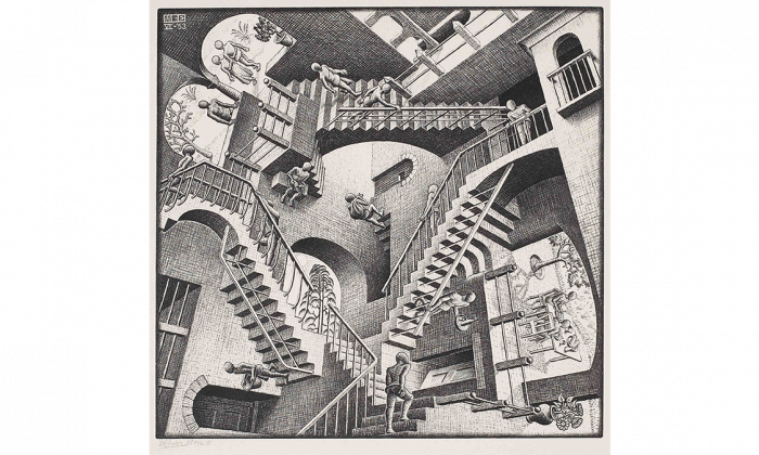 """""""Relativity,"""" lithograph on cream laid Japan paper. (Courtesy National Gallery of Canada)"""