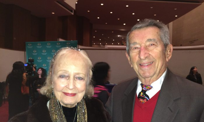 Ms. Alice Berlin (L), former secretary to the director of the Houston ballet, and Mr. Peter Berlin, World War II D-Day veteran, at Shen Yun Performing Arts at Jones Hall For The Performing Arts in Houston on Jan. 6, 2015. (June Fakkert/Epoch Times)