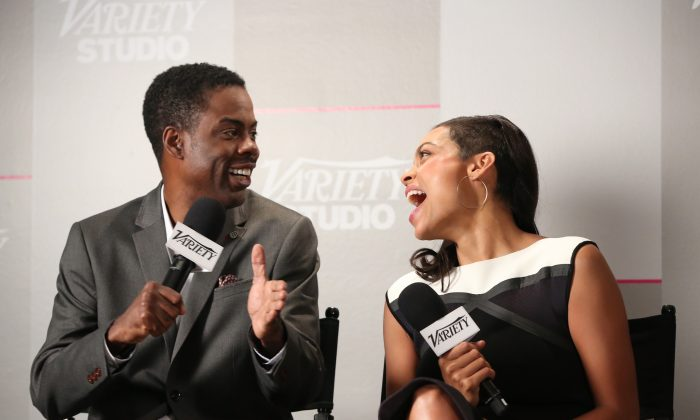 Actress Rosario Dawson (R) and comedian/actor Chris Rock attend the Variety Studio presented by Moroccanoil at Holt Renfrew during the 2014 Toronto International Film Festival on September 7, 2014 in Toronto, Canada. (Photo by Jonathan Leibson/Getty Images for Variety)