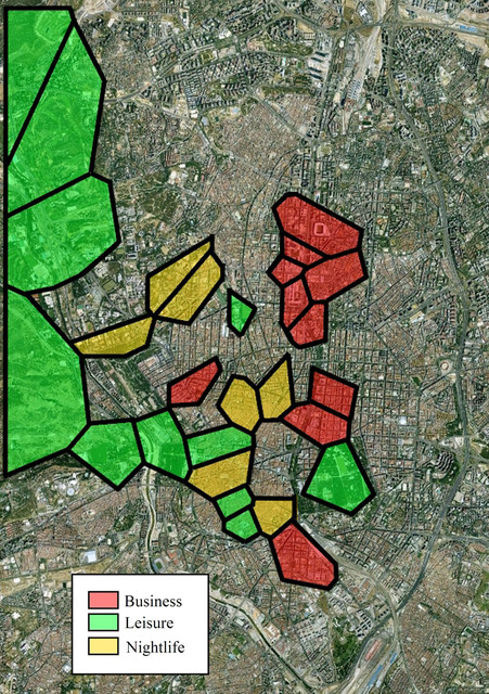 Business, leisure and nightlife areas in Madrid.(Martínez Frías)