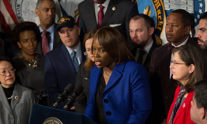 Bronx Council member Vanessa Gibson at a press conference supporting NYPD in City Hall, N.Y. on Dec. 23, 2014. (William Alatriste/NYC Council)