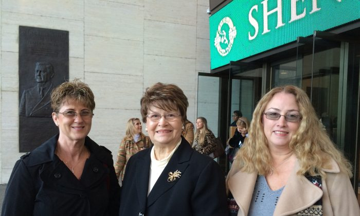 Delisa Birdwell (L), Clare Leppin (C), and Debbie Janak (R), enjoyed the afternoon performance by Shen Yun at Jones Hall for the Performing Arts, Jan. 3, 2015. (June Fakkert/Epoch Times)