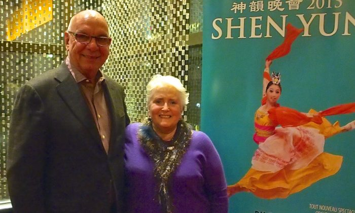 Author and publisher Marie Villeneuve praised the talent of Shen Yun's performers after seeing them at Place des Arts Jan. 7, 2015 with Jean-Marc Lavigueur. (Nathalie Dieul/Epoch Times)