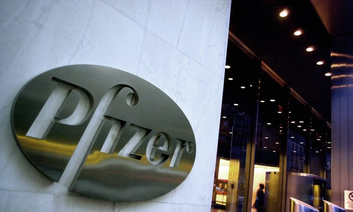 The world headquarters of Pfizer Inc. in New York on April 12, 2005. (AP Photo/Mark Lennihan)