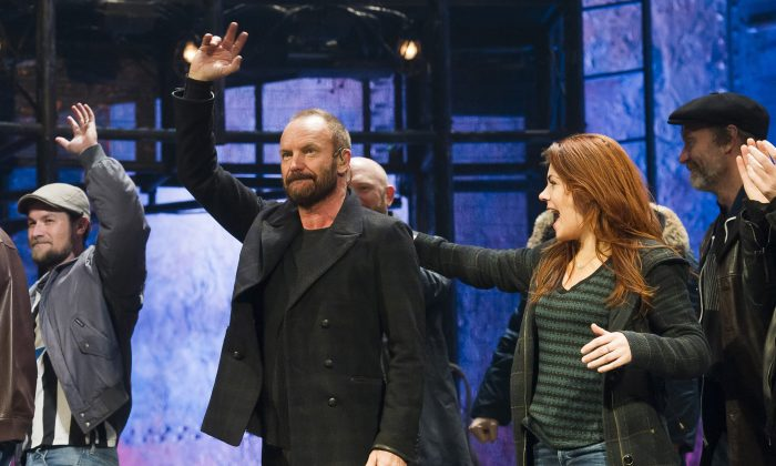 """Sting appears at the curtain call following his debut performance in Broadway's """"The Last Ship,"""" in New York, on Dec. 9, 2014. Producers said that the show will close Jan. 24. (Charles Sykes/Invision/AP)"""