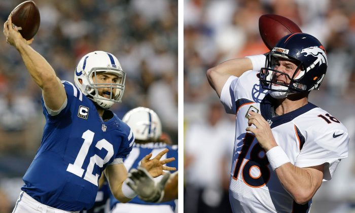 """FILE - At left, in a Dec. 21, 2014, file photo, Indianapolis Colts quarterback Andrew Luck (12) passes under pressure from the Dallas Cowboys during the first half of an NFL football game in Arlington, Texas. At right, in a Nov. 9, 2014, file photo, Denver Broncos quarterback Peyton Manning (18) passes against the Oakland Raiders during the second quarter of an NFL football game in Oakland, Calif. There will be no talk about """"game managers"""" for the rest of these NFL playoffs, or quarterbacks who are still in the hunt solely because they're surrounded by a great defense or running game. Quite simply, the eight signal callers still chasing the Super Bowl have pedigree. (AP Photo/File)"""