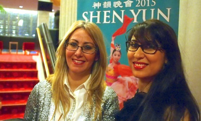 Rim Zid (L) and Zeineb Ouni were impressed by the beauty in the Shen Yun Performing Arts show they saw at Place des Arts in Montreal on Jan. 7, 2015. (Nathalie Dieul/Epoch Times)