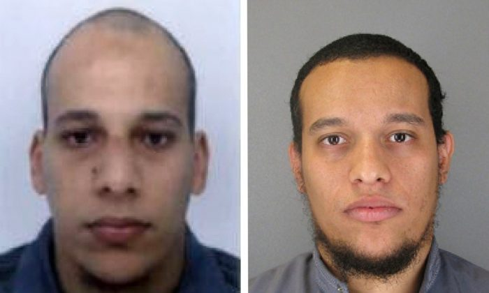 This photo provided by The Paris Police Prefecture Thursday, Jan.8, 2015 shows the suspects Cherif, left, and Said Kouachi in the newspaper attack along with a plea for witnesses. (AP Photo/Prefecture de Police de Paris)