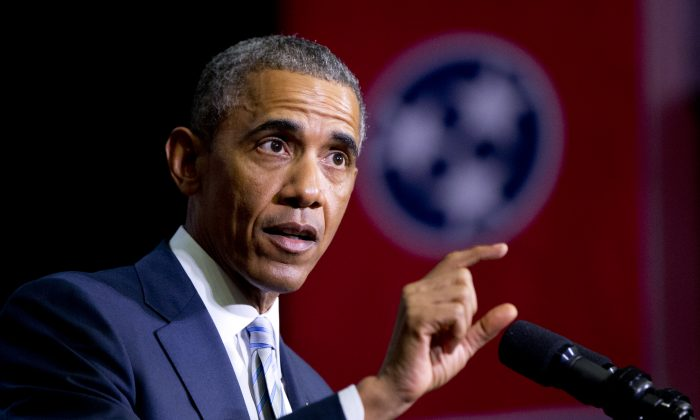 President Barack Obama speaks at Pellissippi State Community College, Friday, Jan. 9, 2015, in Knoxville, Tenn., about new initiatives to help more Americans go to college and get the skills they need to succeed. (AP Photo/Carolyn Kaster)