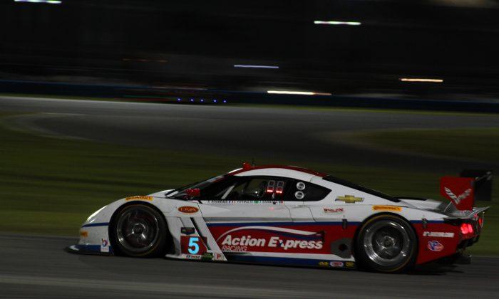 Sebastien Bourdais in the #5 Action Express Coyote-Corvette was quickest in Roar night practice. (Chris Jasurek/Epoch Times)