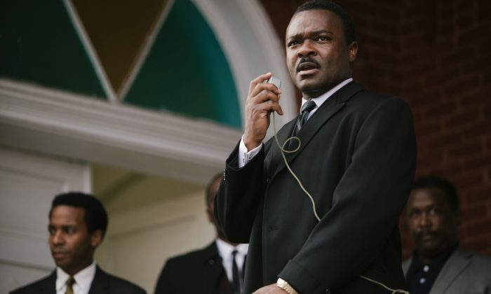"""In this image released by Paramount Pictures, David Oyelowo portrays Dr. Martin Luther King, Jr. in a scene from """"Selma,"""" a film based on the slain civil rights leader. (AP Photo/Paramount Pictures, Atsushi Nishijima)"""