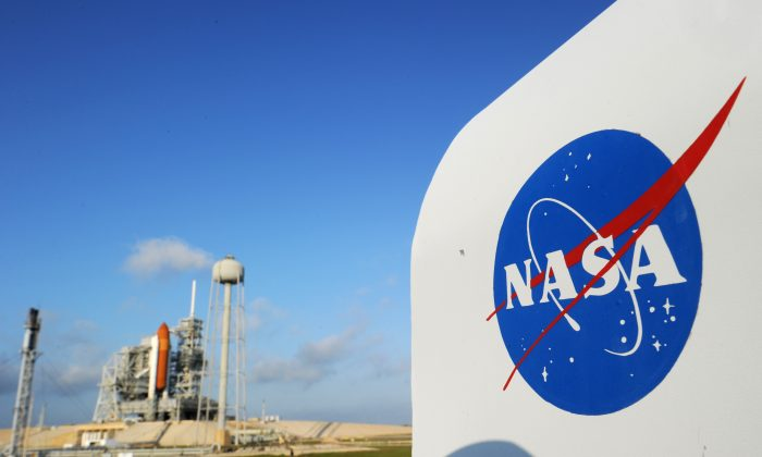 The NASA logo on a protective box for a camera near the space shuttle Endeavour April 28, 2011 at Kennedy Space Center in Florida. (Stan Honda/AFP/Getty Images)