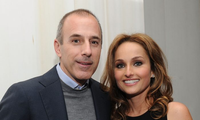 """Television personalities Matt Lauer and Giada De Laurentiis attend Giada DeLaurentiis' """"Weeknights With Giada"""" book launch party at the Andaz Hotel on March 26, 2012 in New York City.  (Photo by Jason Kempin/Getty Images)"""